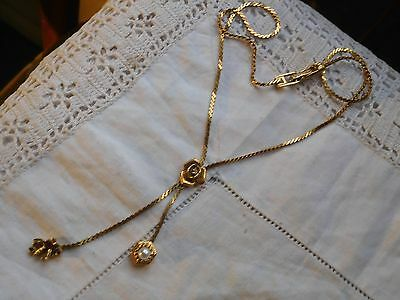 Elegant Vinage 1960s Gold Rose Necklace with buzzing bee  signed Goldette N.Y.