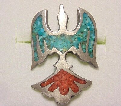 Native American Navajo Sterling Silver Inlaid Turquoise Coral Peyote Bird Ring