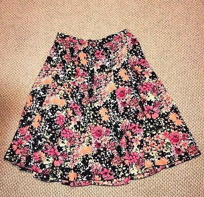 Women's Cj Banks Multi Color Floral Long A-Line Pleated Stretch Skirt Size X