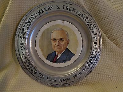 "Harry Truman ""The Buck Stops Here "" Collectible Pewter Plate 1st Ed Canton OH"