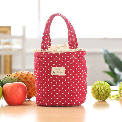 Thermal Insulated Lunch Box Cooler Bag Tote Bento Pouch Lunch Container Red Bags