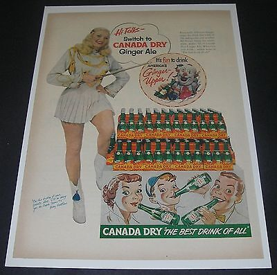 Print Ad 1952 SODA Canada Dry Ginger Ale Mary Hartline Super Circus Actress
