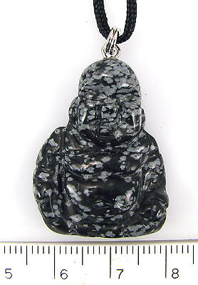 Snowflake Obsidian BUDDHA NECKLACE (#08) * Hand-carved w Adjustable Length Cord