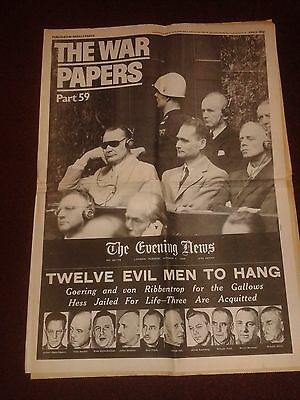 """Vintage Newspaper Reprint """"The War Papers"""" Pt 59 (reprinted paper from WW2) VGC"""