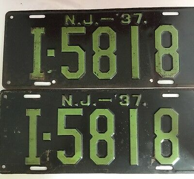 Vintage Pair of 1937 New Jersey License Plates