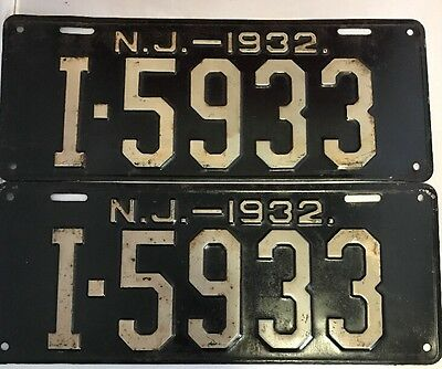 1932 NJ NEW JERSEY license plate PAIR
