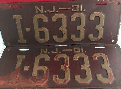 1931 Pair NJ NEW JERSEY license plates