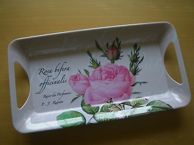 """Melamine 14.5"""" X 8"""" Handled Serving Tray.  Floral Theme in Pinks.  Never Used."""