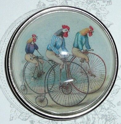 "Adorable Bicycling Chickens Domed Button 1-1/2"" Antique Silver Toned Bezel"