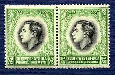 South West Africa-1937-#125-Coronation Issue-Pair-Mlh