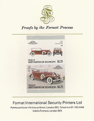 Bequia (2158) - 1987 Cars #7 Stutz  imperf on Format Int PROOF  CARD