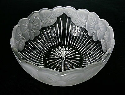 Bohemian Art Deco faceted Crystal Glass Fruit Bowl