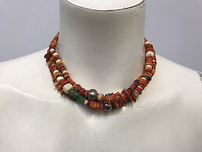Ancient Pre Columbian Beads Sterling Necklace 3 Strands 3 Grey Pearls