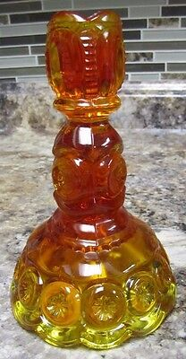 """Vintage L.e. Smith Amber Glass Moon & Star Design 6"""" Taper Candle Holder"""