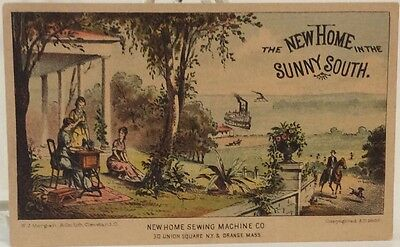 New Home In The Sunny South ~ Woman Sews On New Home Sewing Machine ~ Trade Card