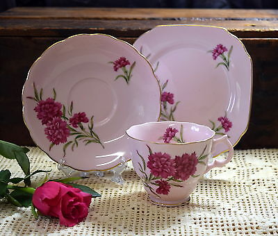 VINTAGE Gorgeous PINK CARNATION Trio CHERRY CHINA JAPAN Cup Saucer Plate TEA
