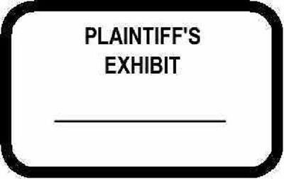 Plaintiff's Exhibit Labels Stickers White 492 Per Pack
