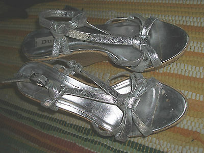 sz 5.5 Dune Silver strappy Leather High woven Wedge sandals shoes
