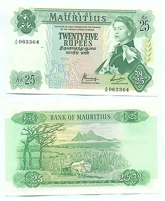 MAURITIUS NOTE 25 RUPEES (1967) SERIAL A/16 P 32b UNC