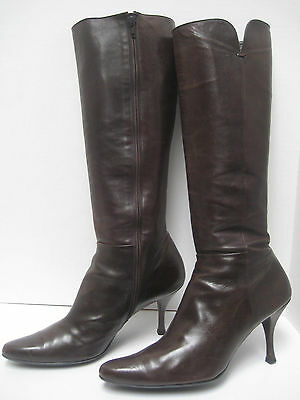 Stuwart Weitzman WOMEN'S Tall Brown YUMMY Leather Zip Dress BOOTS EW94696 ~ 12 M