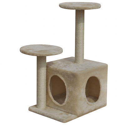 Cat Scratching Post Furniture Tree Tower 60cm 1 House Gym Condo Scratcher Beige