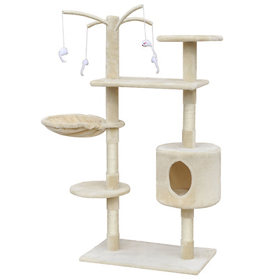 S#Cat Tree Scratching Post Scratcher Pole 1 House Pet Gym Condo Toy 130cm Beige
