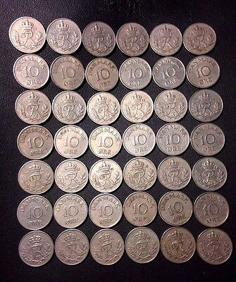 Vintage Denmark Coin Lot - 10 ORE - 42 COINS - 1949-1958 - Lot #F18