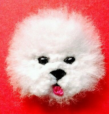knitted bichon frise brooch NEW !