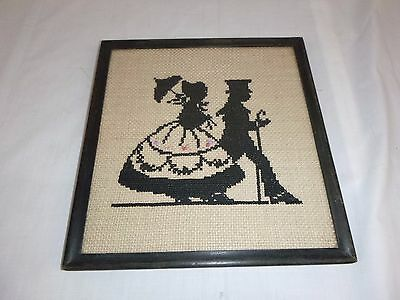 Vtg Completed Cross Stitch Victorian Couple Silhouette Prof. Framed Under Glass