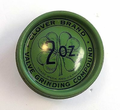 Vintage Can Clover Valve Grinding Compound Tin New Old Stock Oil Gas Collectible