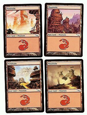 Mirrodin Basic Land MTG Magic Cards 40 Mountains 10x of each art NM Free Ship
