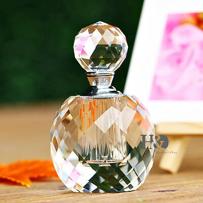 7ML Clear Facet Crystal Empty Refillable Perfume Bottle Wedding Decor Gifts Box