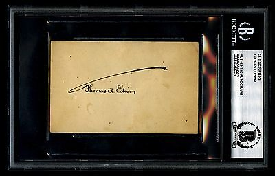 Thomas Edison Signed Autograph Card BAS Beckett Authentic