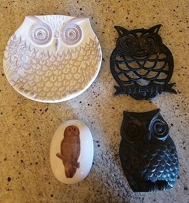 Great 4 LOT Wise Owl Paper weight Hot pad/plate Dish Wall hanging Home Decor