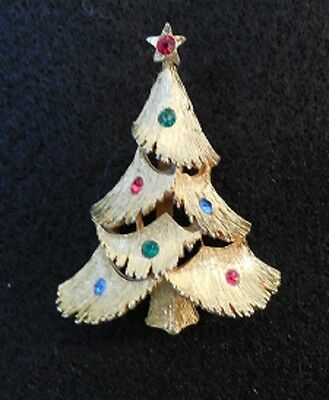 """Christmas tree Pin/brooch - Signed """"TT"""" - small, gold colored w/colored accents"""