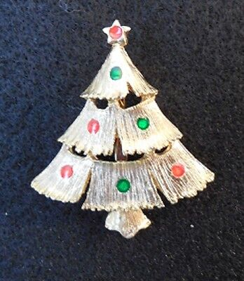 Christmas Tree Pin / Brooch -  Goldtone colored tree w/red and green ornaments
