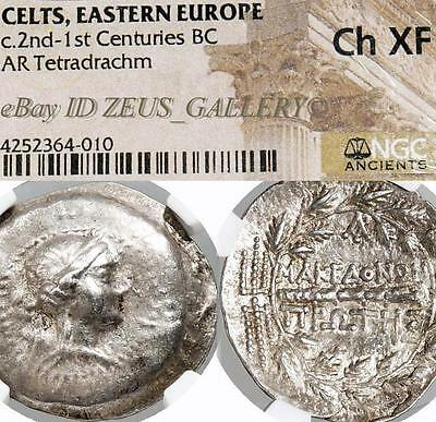 "NGC Choice XF HUGE 1½"" Tetradrachm Artemis/Club Ancient Celtic Greek Silver Coin"