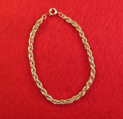"Lot Of 10 Pcs 14Kt Yellow Gold Ep 7"" 3.5Mm Flexible Rope Chain Bracelet"