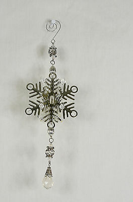 Silver 3D Snowflake with Dangle Christmas Tree Ornament new winter starburst