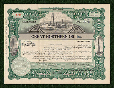 1924 FORT COLLINS COLORADO Great Northern Oil Company Stock Certificate