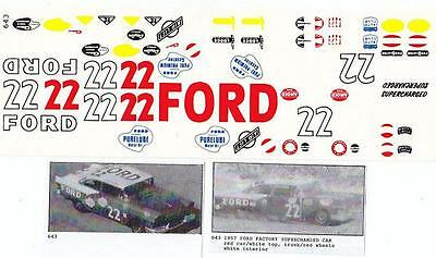 Fred Cady Decal #643 To Do The 1957 Ford Factory Supperchargerd car #22