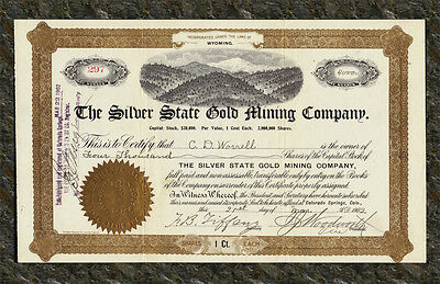 1902 Silver State Gold Mining Company Stock Certificate CRIPPLE CREEK COLORADO