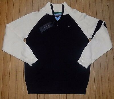 NWT BOYS Tommy Hilfiger 1/4 Zip Pullover Sweater Navy/White~SZ XL 20