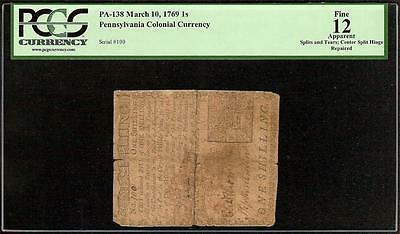 March 10, 1769 Pennfilvania Colonial Currency Old Paper Money Note Pcgs Fine 12