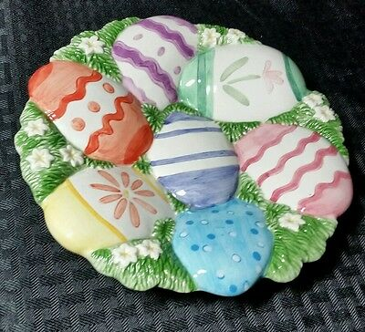 Fitz & Floyd Essentials Chicks & Eggs Canape Plate Blue Pink Green Yellow Purple