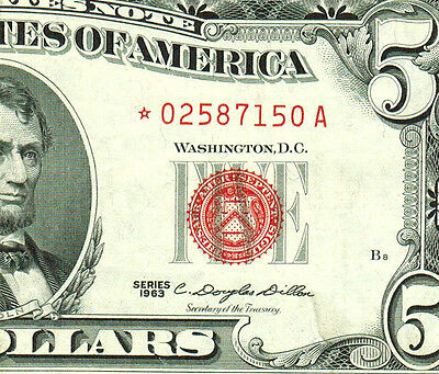**STAR** $5 1963  Red Seal  **United States Note ** MORE CURRENCY 4 SALE**#