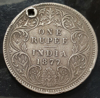 1877 India Silver Rupee KM# 492 No Mint Mark Type A Bust Type I Rare