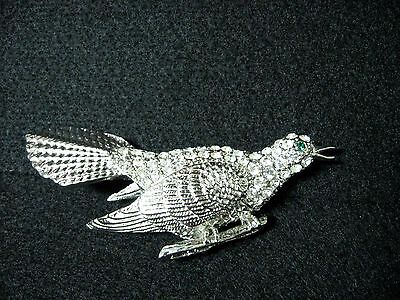 New silver tone BIRD pin brooch CRYSTAL big and heavy
