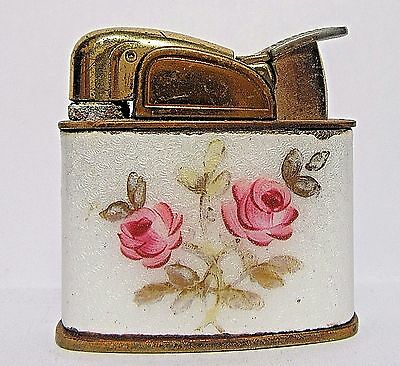 Vintage Evans Ladies Lighter, Glass Enamel Flowers On Both Sides, USA, Working