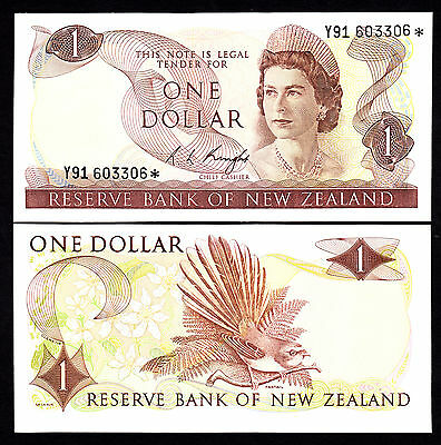 New Zealand NZ $1 Dollar Knight 1975-77 Radar Star 603306* Rare UNC QEII Note